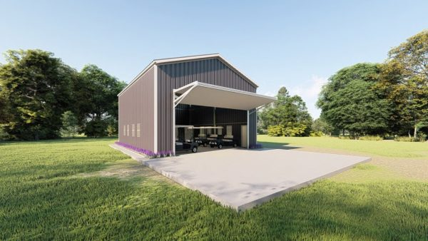 Golf cart storage metal building rendering 6