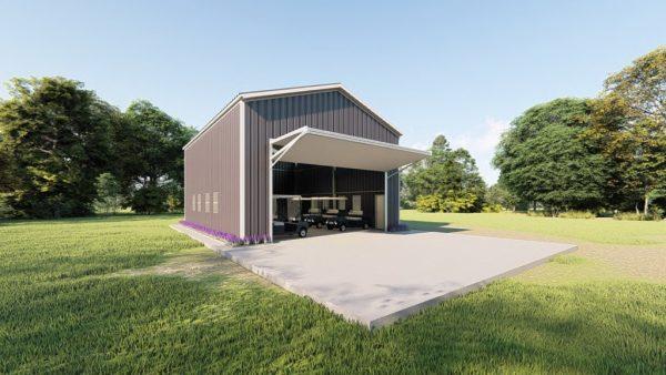 Golf cart storage metal building rendering 6