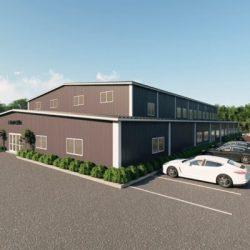 Gymnasiums metal building rendering 2