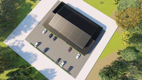 Gymnasiums metal building rendering 6
