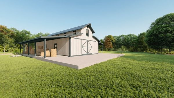 Hay storage metal building rendering 3