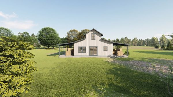 Hay storage metal building rendering 4
