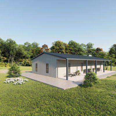 Houses 30x50 home metal building rendering 3