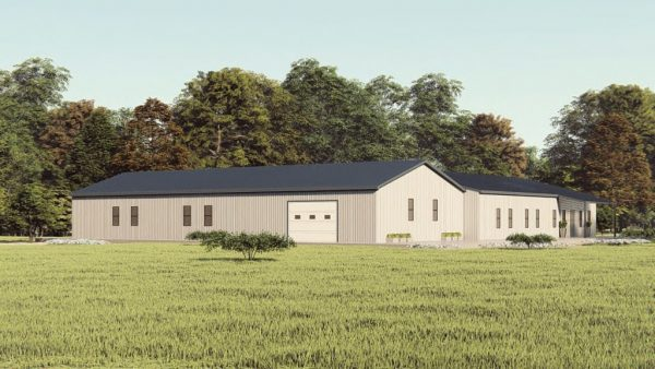 Houses 80x90 home metal building rendering 1