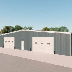 Industrial metal building rendering 3