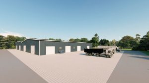 Manufacturing metal building rendering 3