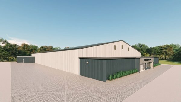 Recreational metal building rendering 4