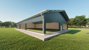 Sports facilities metal building rendering 3