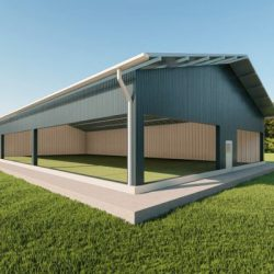 Sports facilities metal building rendering 3