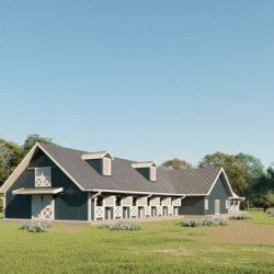 Stable metal building rendering 3