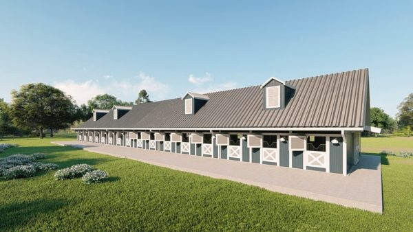 Stable metal building rendering 4