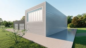 Storage metal building rendering 3