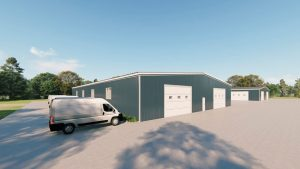 Warehouses metal building rendering 3
