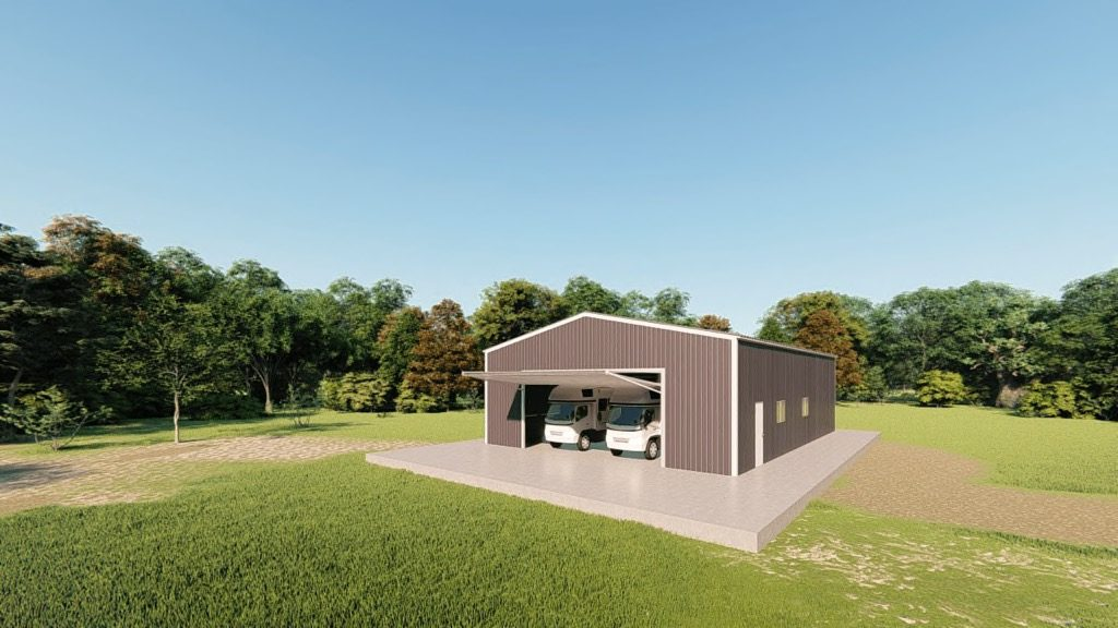 rv garages 40x60 metal building rendering 3