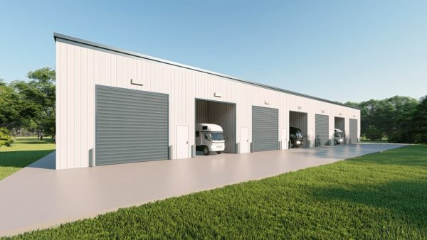 rv storage 40x200 enclosed metal building rendering 3