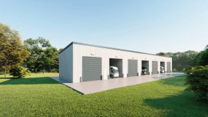 rv storage 40x200 enclosed metal building rendering 4
