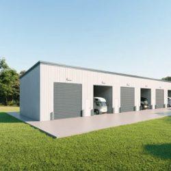 rv storage 40x200 enclosed metal building rendering 4