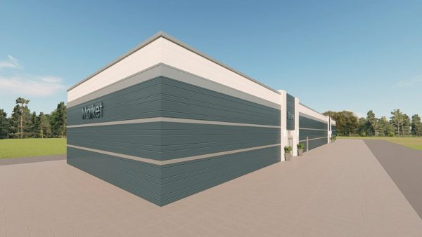 strip mall metal building rendering 3