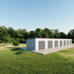 Mini storage 15x100 metal building rendering 3