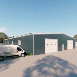 Warehouses metal building rendering 3