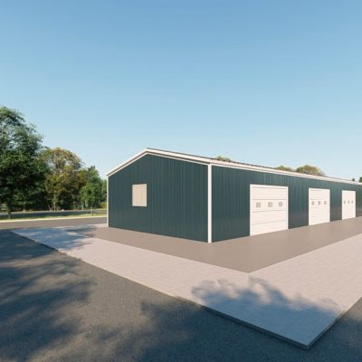 Workshop metal building rendering 3